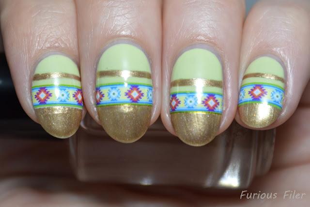 tribal native pattern pear green pastel gold nails