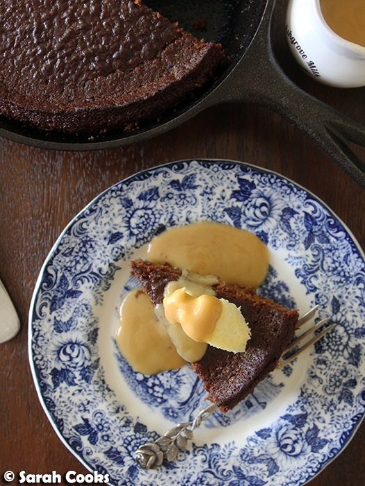 Gingerbread Skillet Pudding with Smoked Salted Toffee Sauce