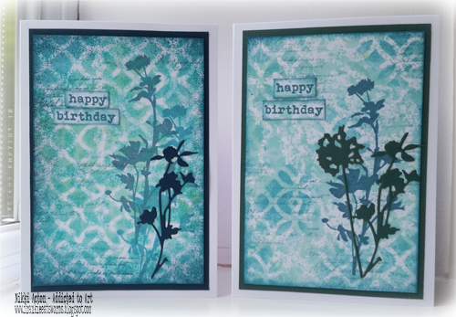 Distress Oxides and Tim Holtz Wildflower cards by Nikki Acton