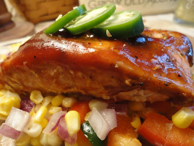 Getting healthy with barbecue salmon and sweet corn relish
