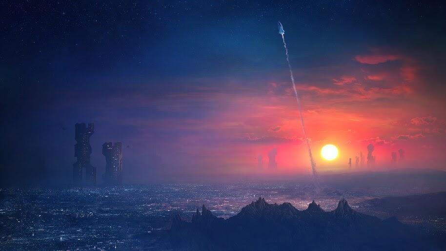 Sci-Fi, City, Scenery, Space Shuttle, 4K, #6.768