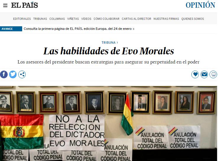 Artículo del exfuncionario boliviano fue publicado en El País / CAPTURA