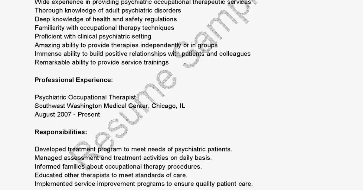 Psychiatric Occupational Therapist Cover Letter Node2001 - Activities Therapist Cover Letter
