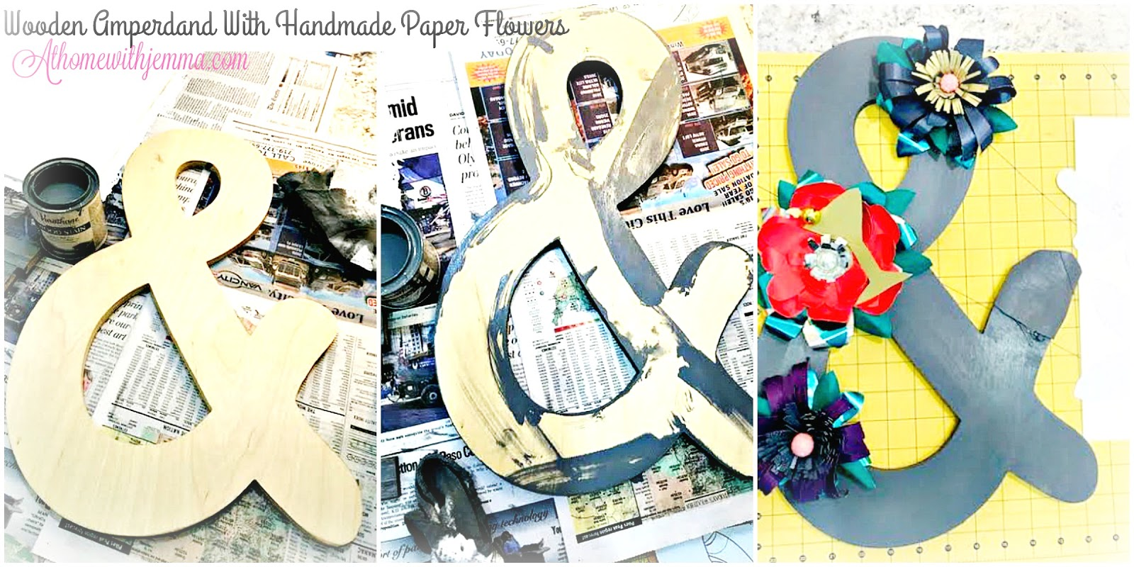 National Craft Month Wooden Ampersand With Handmade Paper Flowers At Home With Jemma