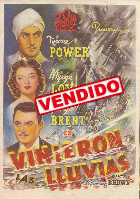 Programa de Cine - Vinieron las Luvias - Tyrone Power - Myrna Loy