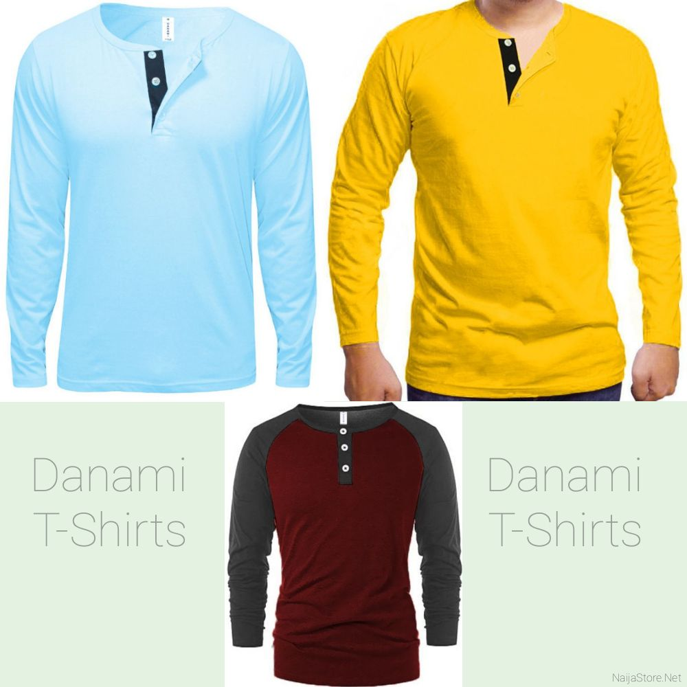 Men's Danami Long Sleeve T-Shirts with Front Button Designs - Casual Tops for Gentlemen