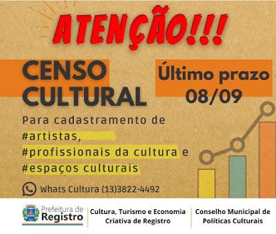 Última chamada: Inscrições para o Censo Cultural de Registro-SP somente até 08 de setembro
