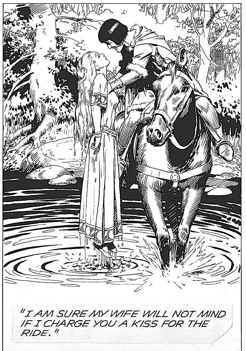 Hal Foster 1957 art for English legend Prince Valient, I am sure my wife will not mind if I charge you a kiss for the ride
