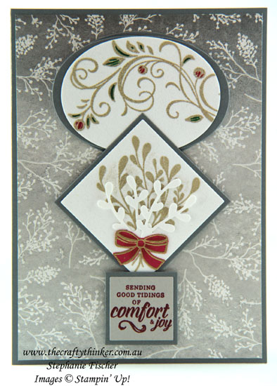 #thecraftythinker #stampinup #christmascard #cardmaking #heatembossingonvelvetpaper #mistletoeseason , Christmas card, White Velvet Paper, Mistletoe Season, Falling Flowers, Heat Embossing, Stampin Up Australia Demonstrator, Stephanie Fischer, Sydney NSW