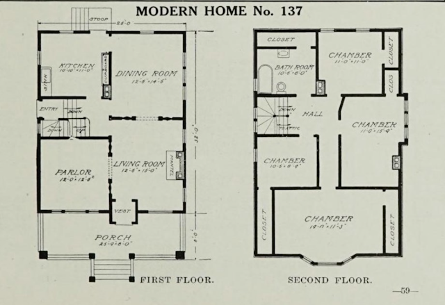 black & white image of the floor plan of Sears No 137 model in the 1911-1912 Sears Modern Homes catalog