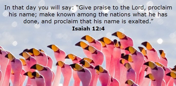 Give thanks to the Lord, call on his name; make known among the nations what he has done and proclaim that his name is exalted.