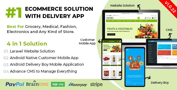 Ecommerce Solution with Delivery App For Grocery, Food, Pharmacy, Any Store / Laravel + Android Apps v1.0.22 - nulled