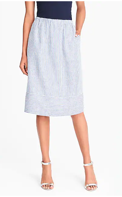 J Crew Stripped Cotton-Linen Midi Skirt