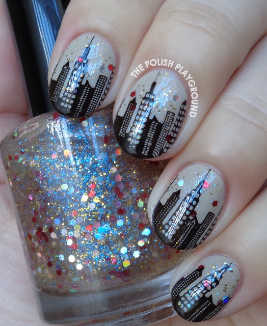 City Inspired Silhouettes Stamping Nail Art