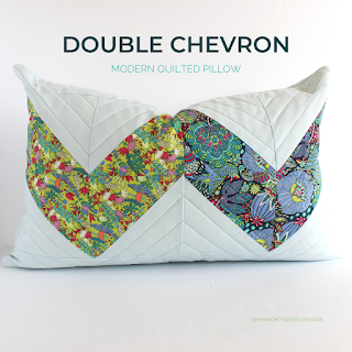 Double Chevron Lumbar Pillow | Quilted Pillow | Shannon Fraser Designs #homedecor #pillow #quilting