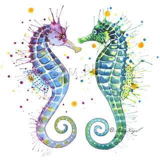 Of Art And Other Things Guardians The Sea Seahorse Painting
