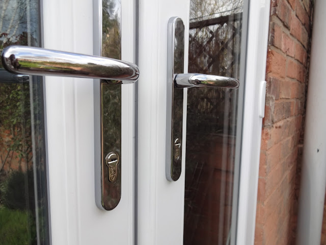 Chrome handles on french doors