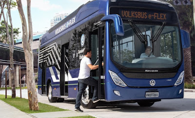 Ônibus flex elétrico da Volks ganha autonomia