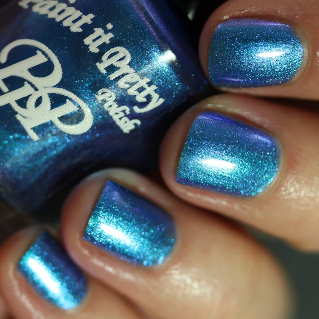 Paint It Pretty Polish Summer Kisses swatch denim blue multichrome polish
