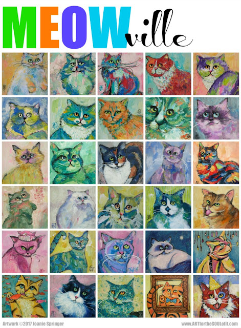 MEOWville 30 Cats poster by Joanie Springer now available as a hang-ready print