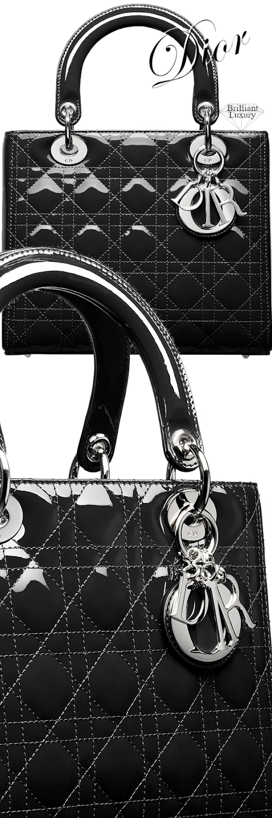 Dior Lady Dior Black Patent Calfskin Bag #brilliantluxury