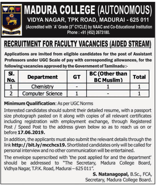Madura College Recruitment 2019 for Assistant professor post