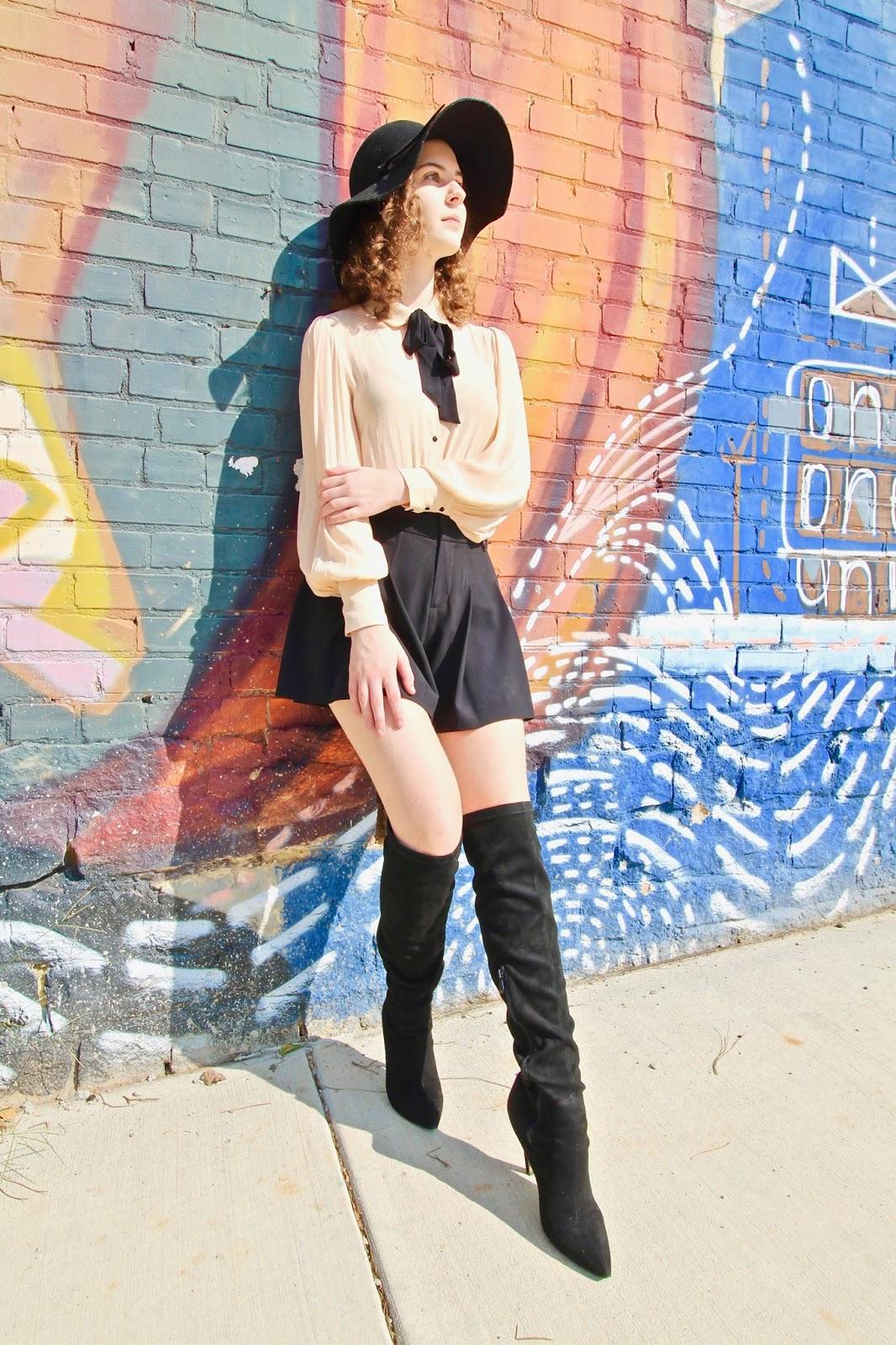 98a051548a Outfit details: Forever 21 blouse, Alice + Olivia shorts, Unique Vintage  hat, Laurel Black Over the Knee Heeled Boots