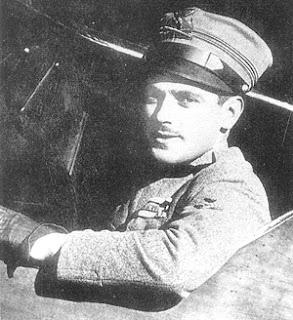 Silvio Scaroni in the cockpit of the Hanriot HD.1 aeroplane in which he was most successful