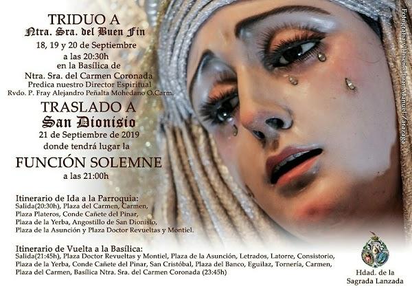 Horario e Itinerario del traslado de Ntra. Sra. del Buen Fin a la Iglesia de San Dionisio en Jerez de la Frontera