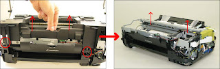 Remove the scanner, casing, and engine