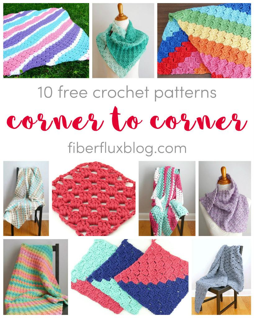Fiber Flux Corner To Corner Crochet, 12 Free Patterns