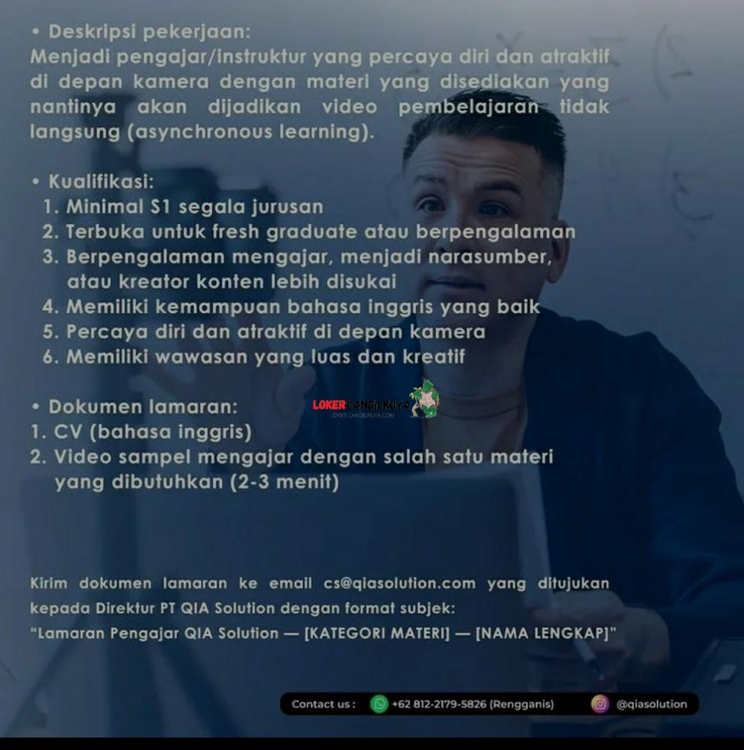 Lowongan Kerja PT QIA Solution Jakarta