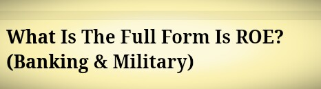 What Is The Full Form Is ROE? (Banking & Military)