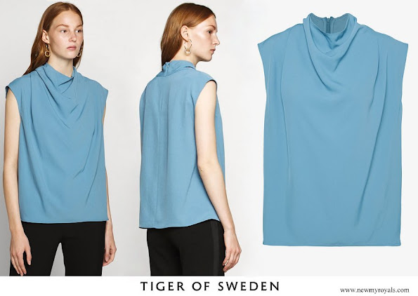 Crown Princess Victoria wore Tiger of Sweden Volon Top Mist Blue