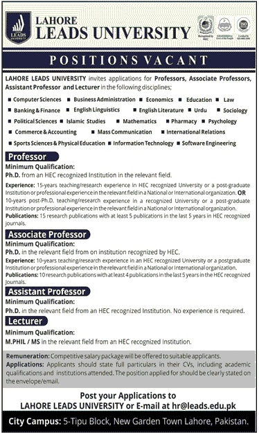Lecturers Jobs in Lahore Leads University Jobs in Pakistan