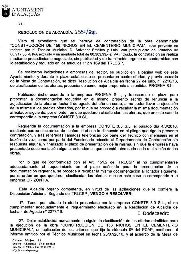 Proena retira la oferta para la ampliacion del cementerio de alaquas la 2 no contesta al - Trabajo en alaquas ...
