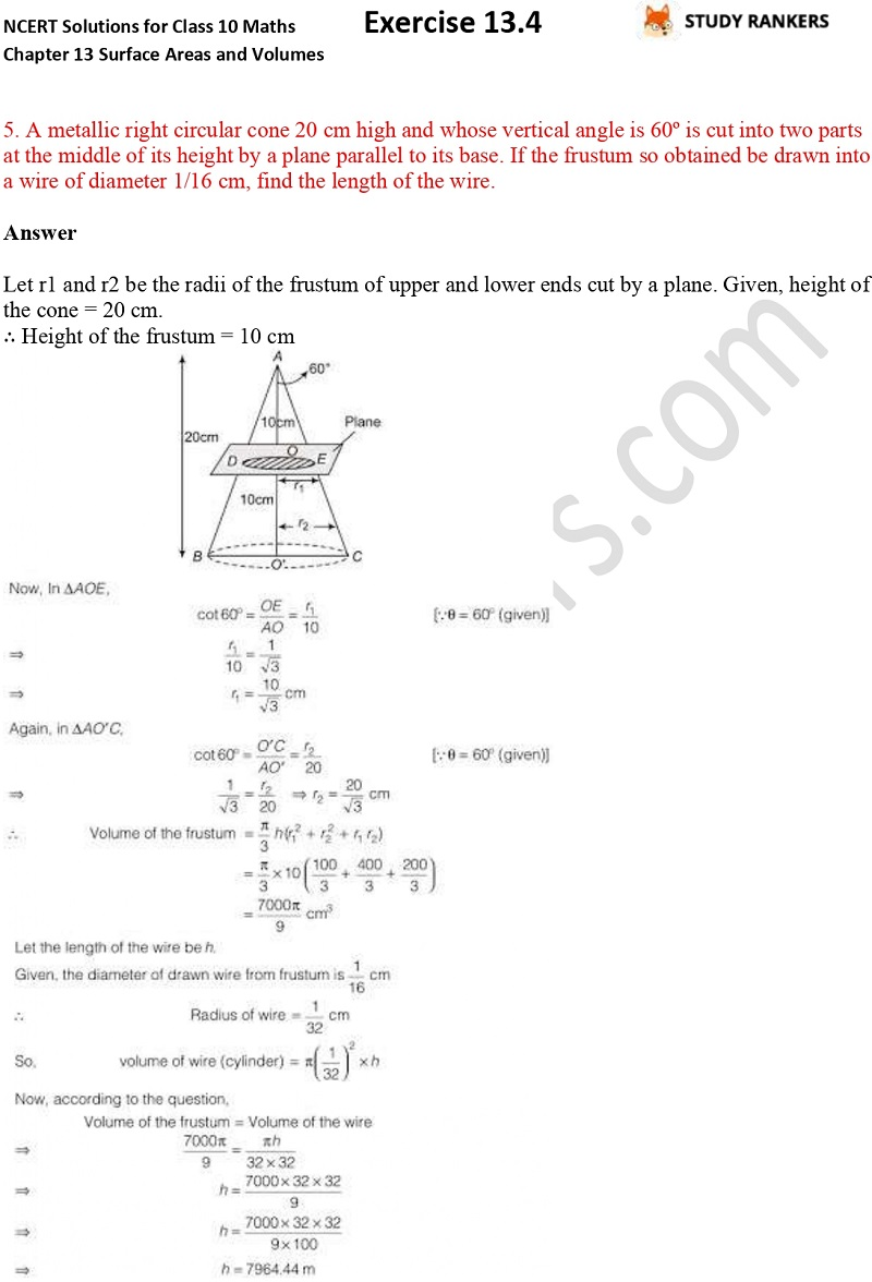 NCERT Solutions for Class 10 Maths Chapter 13 Surface Areas and Volumes Exercise 13.4 Part 5