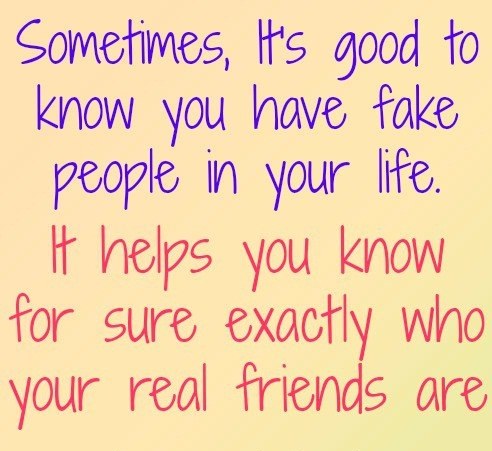 Sometimes Its Good To Know That You Have Fake People In Your Life