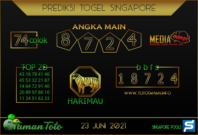 Prediksi Togel SINGAPORE TAMAN TOTO 23 JUNI 2021