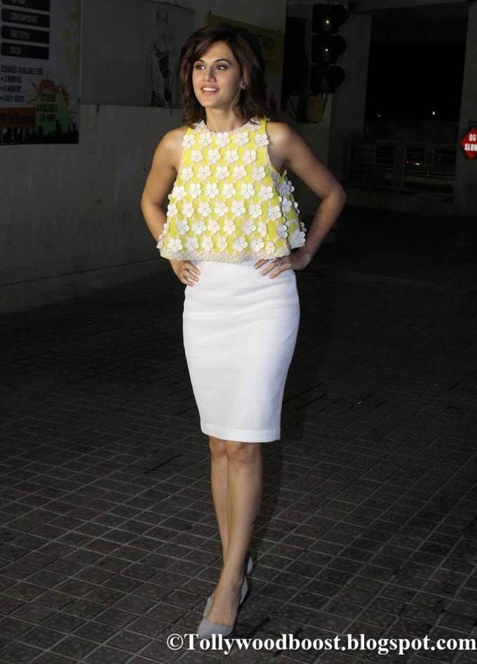 Taapsee Pannu Long Legs Show In Yellow Top At Hindi Movie Screening