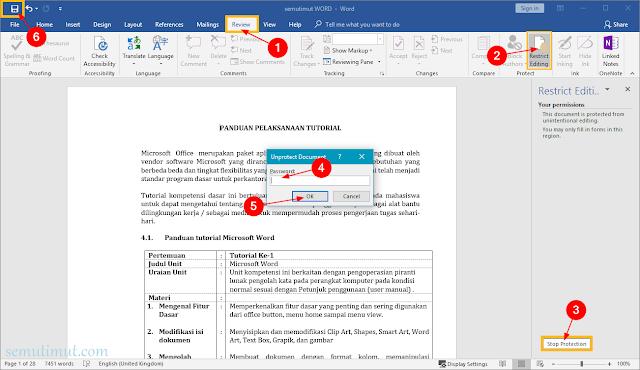 cara membuka proteksi file word