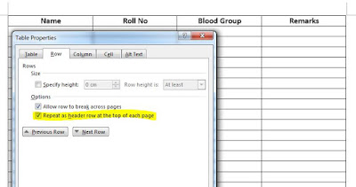 Keep first row table fixed in MS word 2010