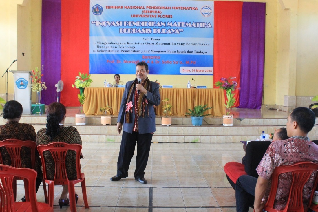 As Keynote Speaker in National Seminar of Math Educ in University of FLORES, March 2018