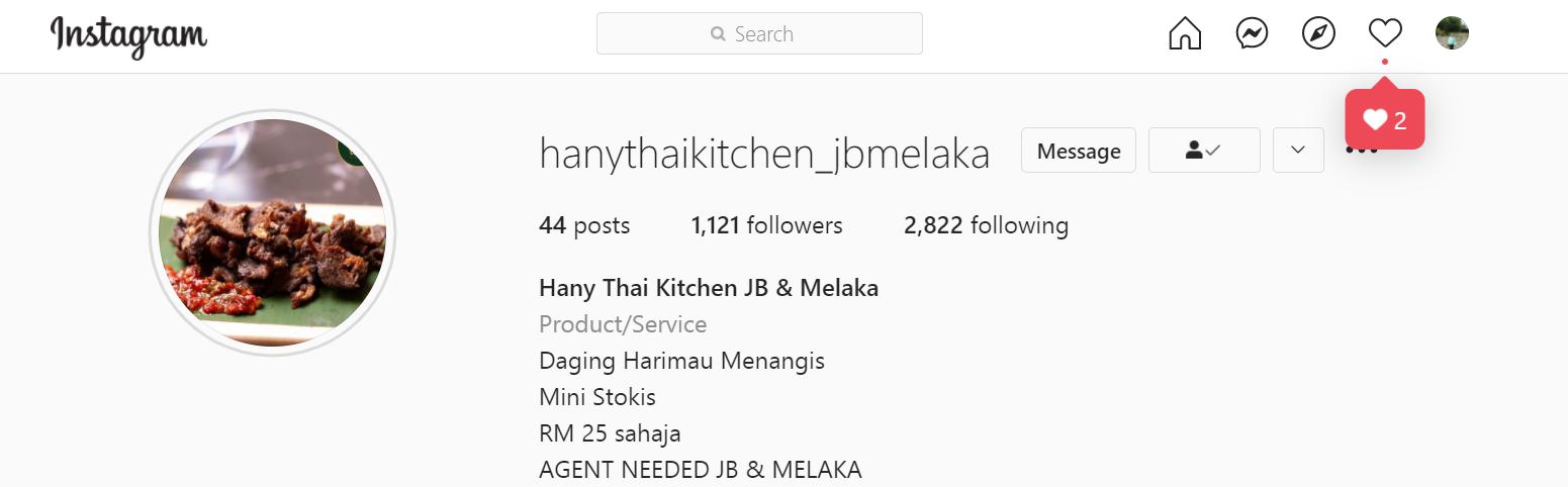 Nak Order Hany Thai Kitchen Area Melaka