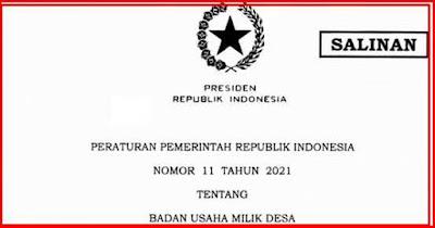 PP Nomor 11 tahun 2021 Tentang Bumdes
