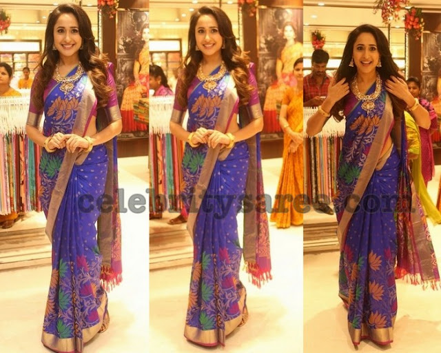 Pragya Jaiswal Blue Lotus zari Saree