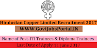 Hindustan Copper Limited Recruitment 2017– ITI Trainees & Diploma Trainees