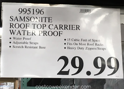 Deal for the Samsonite Waterproof Rooftop Cargo Carrier at Costco