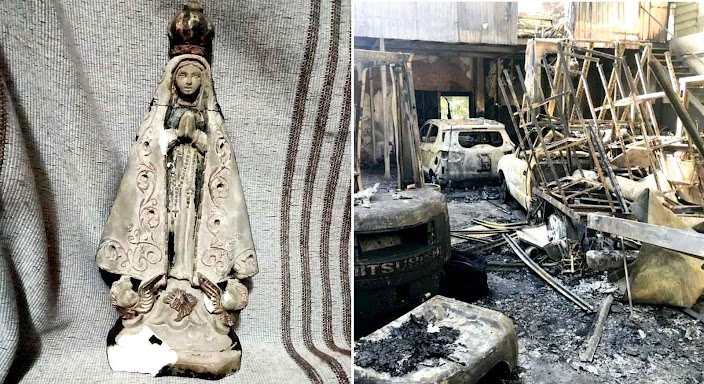 Dono de oficina destruída crê em milagre após imagem de Nossa Senhora resistir a incêndio