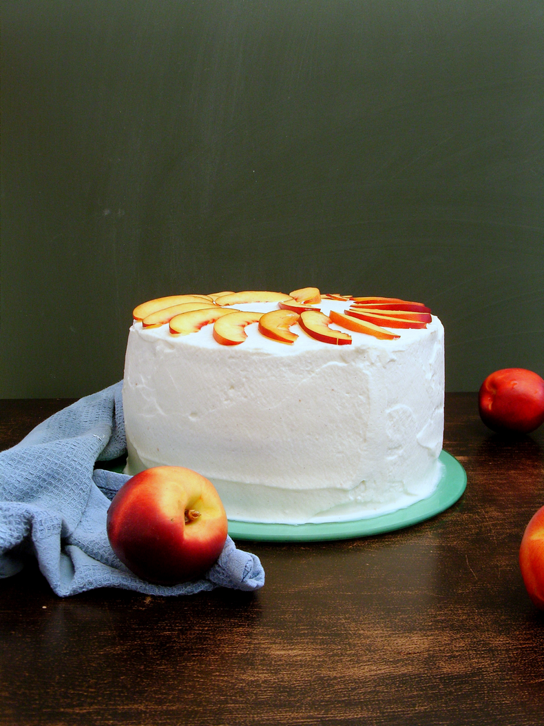 vanilla cake + mascarpone whipped cream + nectarines